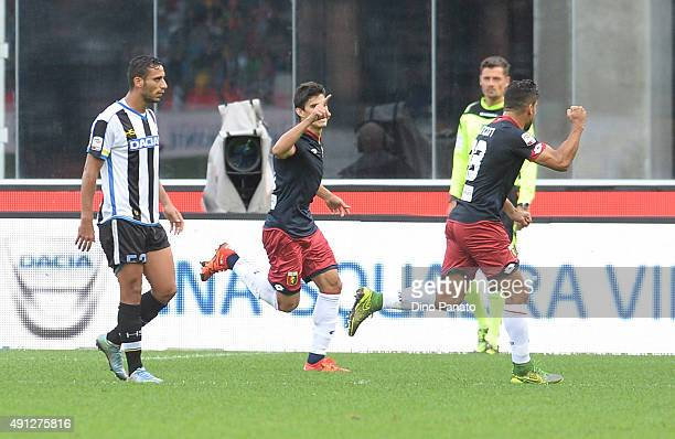 Almeira Diego Perotti of Genoa CFC celebrates after scoring his team's first goal from the penalty spot during the Serie A match between Udinese...
