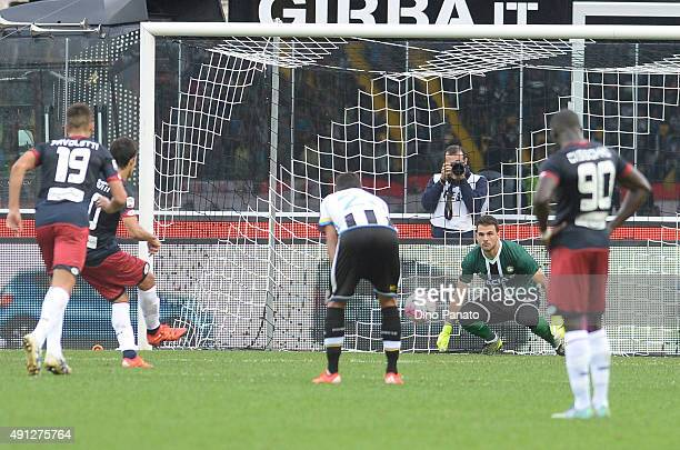 Almeira Diego Perotti of Genoa CFC scores his team's first goal from the penalty spot during the Serie A match between Udinese Calcio and Genoa CFC...