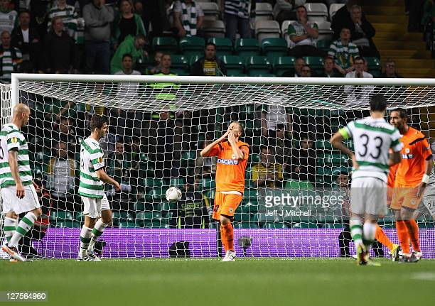 Almen Abdi of Udinese reacts after scoring the equalizer during the Europa League Group I match between Celtic and Udinese at Celtic Park on...