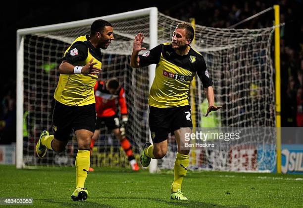 Almen Abdi of Watford cekebrates scoring the opening goal of the game during the Sky Bet Championship match between Watford and Leeds United at...