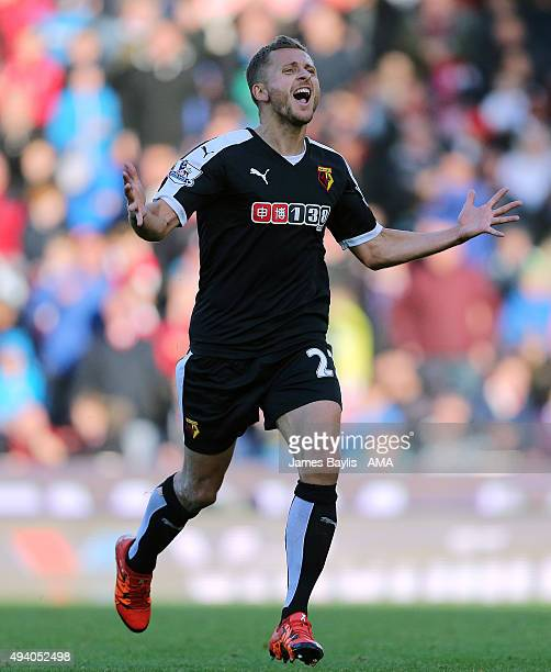 Almen Abdi of Watford celebrates after scoring a goal to make it 02 during the Barclays Premier League match between Stoke City and Watford at...
