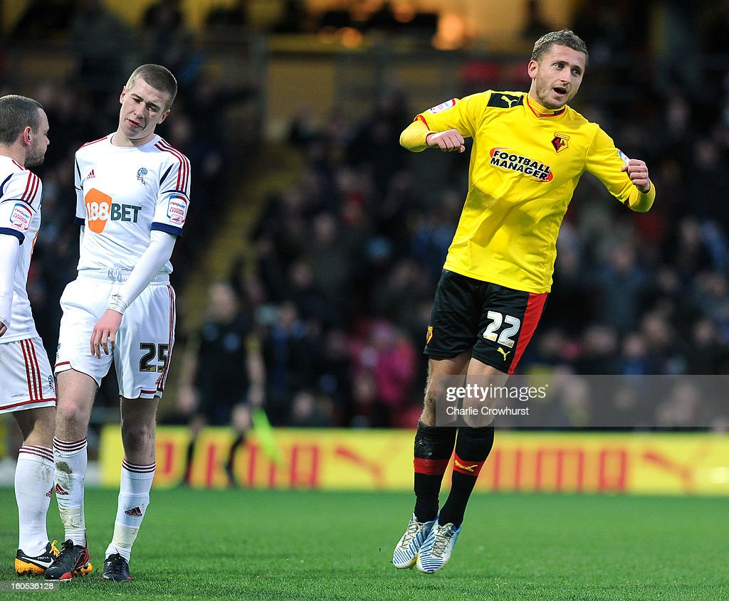 <a gi-track='captionPersonalityLinkClicked' href=/galleries/search?phrase=Almen+Abdi&family=editorial&specificpeople=2574029 ng-click='$event.stopPropagation()'>Almen Abdi</a> of Watford celebrates after scoring the winning goal during the npower Championship match between Watford and Bolton Wanderers at Vicarage Road on February 02, 2013 in Watford England.