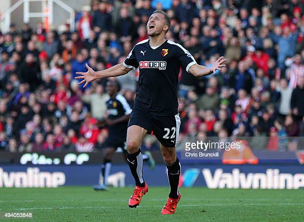 Almen Abdi of Watford celebrates scoring his team's second goal during the Barclays Premier League match between Stoke City and Watford at Britannia...