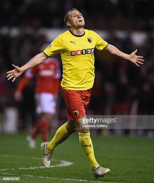 Almen Abdi of Watford celebrates scoring their third goal during the Sky Bet Championship match between Nottingham Forest and Watford at City Ground...