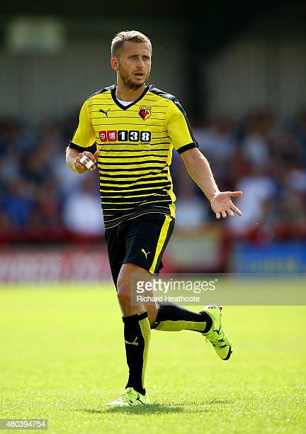 Almen Abdi of Watford during the Pre Season Friendly match between AFC Wimbledon and Watford at The Cherry Red Records Stadium on July 11 2015 in...