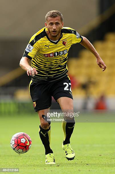 Almen Abdi of Watford in action during the Barclays Premier League match between Watford and West Bromwich Albion on August 15 2015 in Watford United...