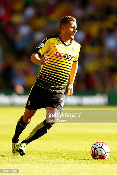 Almen Abdi of Watford in action during the Barclays Premier League match between Watford and Crystal Palace at Vicarage Road on September 27 2015 in...