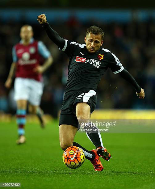 Almen Abdi of Watford in action during the Barclays Premier League match between Aston Villa and Watford at Villa Park on November 28 2015 in...