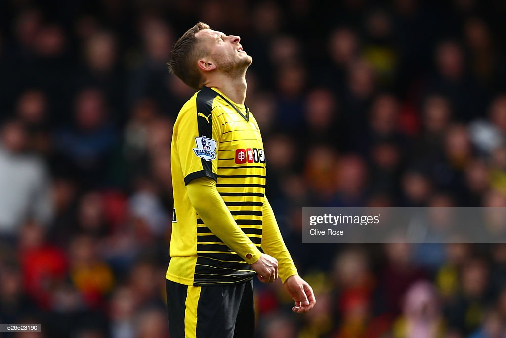 Almen Abdi of Watford reacts during the Barclays Premier League match between Watford and Aston Villa at Vicarage Road on April 30, 2016 in Watford, England.
