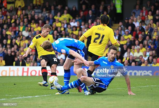 Almen Abdi of Watford scores his team's opening goal during the npower Championship match between Watford and Leeds United at Vicarage Road on May 4...