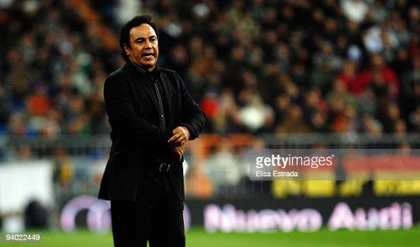 Almeria coach Hugo Sanchez gives instructions during the La Liga match between Real Madrid and UD Almeria at Estadio Santiago Bernabeu on December 5...