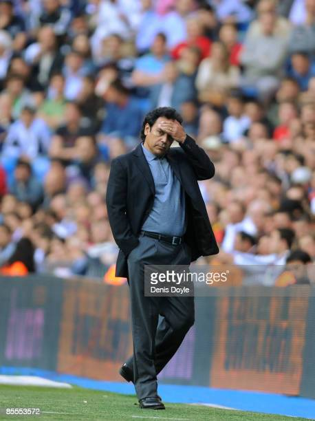 Almeria manager Hugo Sanchez watches his side play Real Madrid during the La Liga match between Real Madrid and UD Almeria at the Santiago Bernabeu...