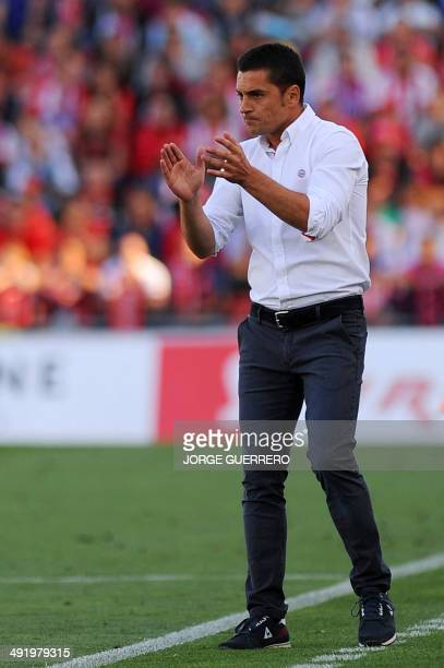 Almeria's coach Francisco Javier Rodriguez Vilchez reacts during the Spanish league football match UD Almeria vs Athletic Club Bilbao at the Juegos...