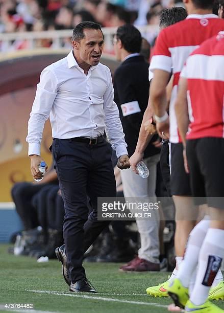 Almeria's coach Sergi BarJuan shouts after Almeria's French forward Thievy Guivane Bifouma Koulossa scoring during the Spanish league football match...