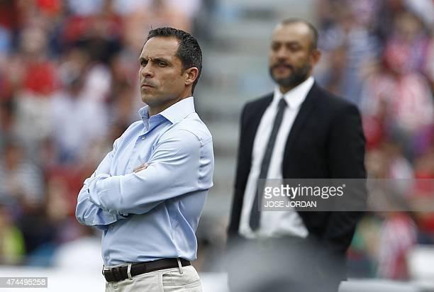 Almeria's coach Sergi Barjuan stands during the Spanish league football match UD Almeria vs Valencia CF at the Juegos Mediterraneos stadium in...