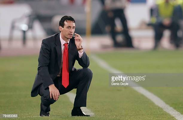 Almeria's manager Unai Emery watches his side beat Real Madrid 20 during the La Liga match between Almeria and Real Madrid at the Juegos...