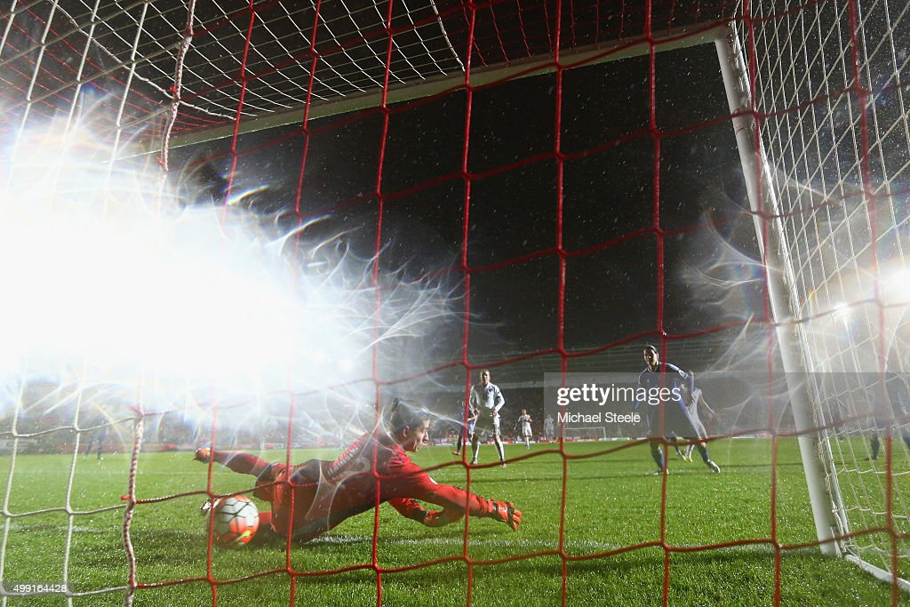 Almina Hodzic the goalkeeper of Bosnia and Herzegovina fails to stop a header from Jill Scott of England during the UEFA Women's Euro 2017 Qualifier match between England and Bosnia and Herzegovina at Ashton Gate on November 29, 2015 in Bristol, England.
