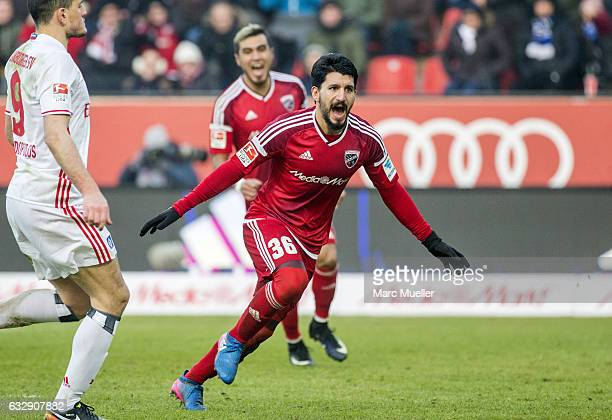 Almog Cohen of Ingolstadt celebrates after scoring the third goal during the Bundesliga match between FC Ingolstadt 04 and Hamburger SV at Audi...