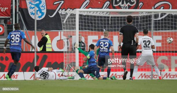 Almog Cohen of Ingolstadt scores his team's second goal during the Bundesliga match between FC Ingolstadt 04 and SV Darmstadt 98 at Audi Sportpark on...