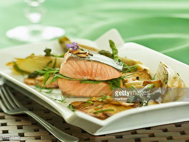 almond and herb salmon stack...