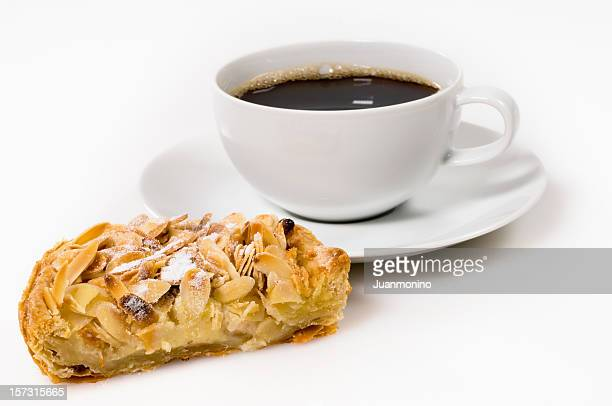 Almond, apple & custard tart, and coffee