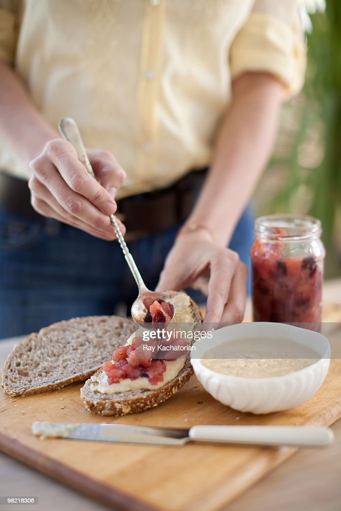 Almond Butter with Cranberry Jam