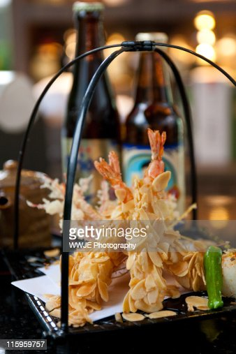 Almond flake coated tempura shrimp : Stock Photo