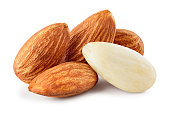 Almond isolated. Almonds on white background. Full depth of fielda