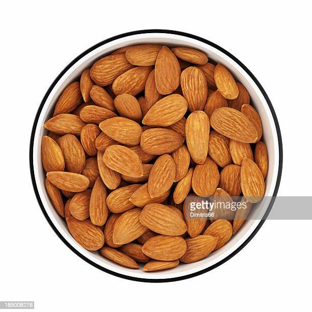 Almonds in a bowl from directly above