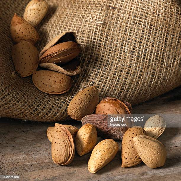 Almonds in a burlap sack