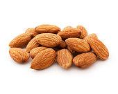 Fresh almonds isolated on white background