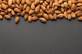 Almonds with dark copy space