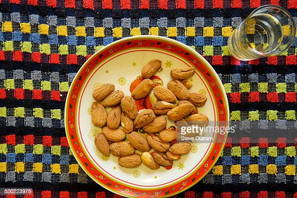 Almonds with glass