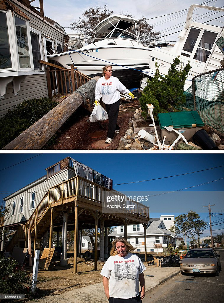 Regina Yahara-Splain cleans out her home after it was damaged by Superstorm Sandy on November 1, 2012 in Highlands, New Jersey. HIGHLANDS, NJ - OCTOBER 22: (bottom) Almost one year later, Yahara-Splain poses for a portrait in front of the same home, which she has since raised on stilts to protect it from future storms, October 22, 2013. Hurricane Sandy made landfall on October 29, 2012 near Brigantine, New Jersey and affected 24 states from Florida to Maine and cost the country an estimated $65 billion.