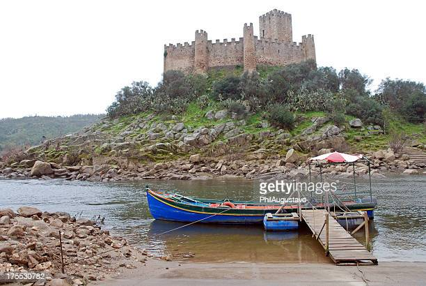 Almourol Castle and boat in Portugal