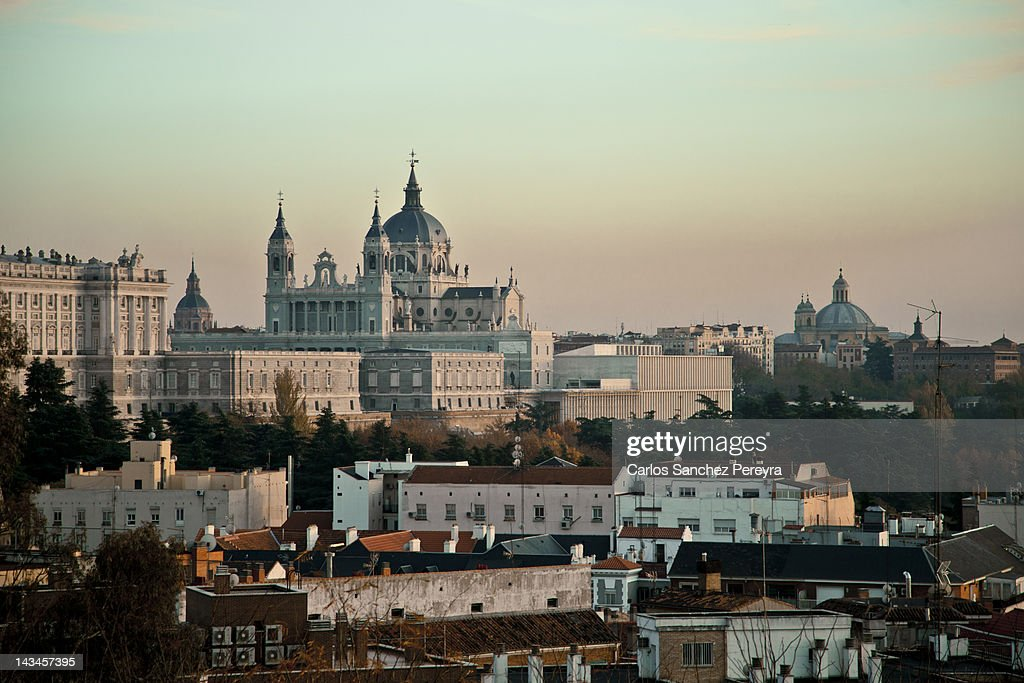 Almudena Cathedral and Madrid cityscape : Stock Photo