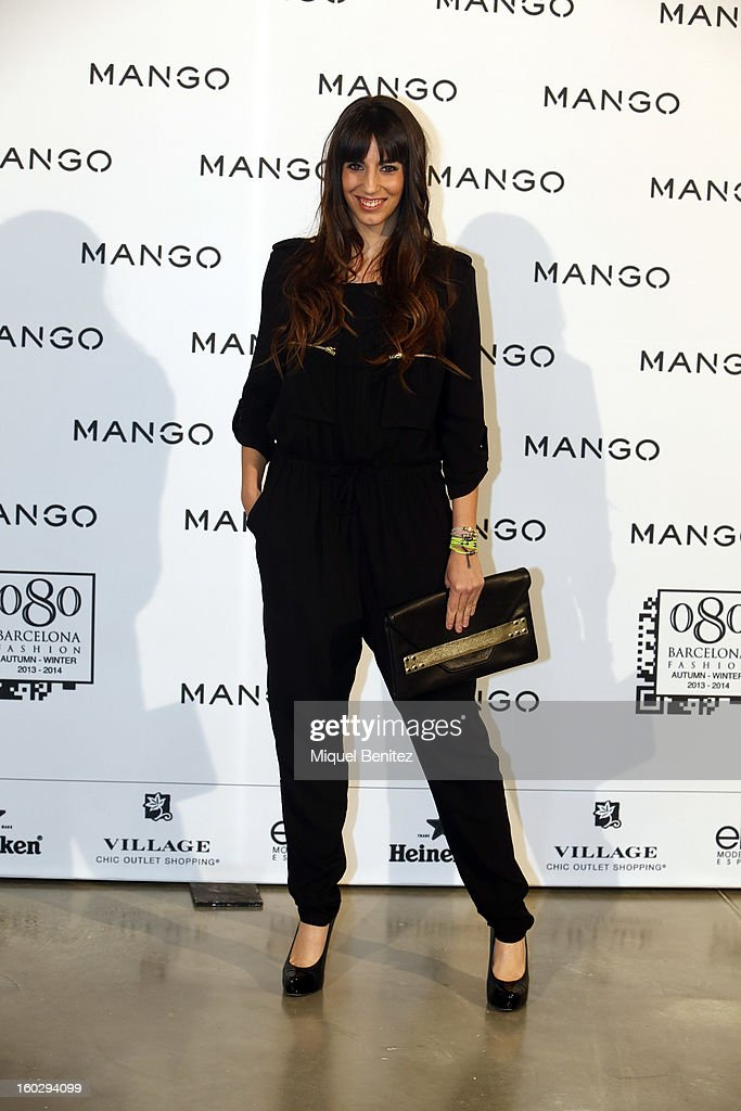 Almudena Cid attends the photocall at the Mango fashion show as part of the 080 Barcelona Fashion Week Autumn/Winter 2013-2014 on January 28, 2013 in Barcelona, Spain.
