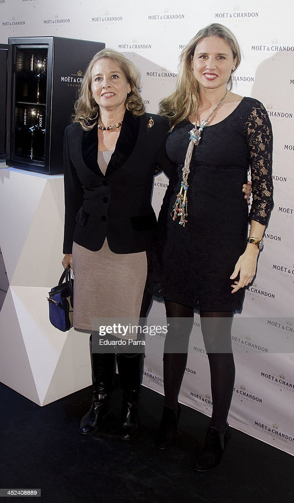 Almudena de Arteaga (r) and Mother attends 'Moet Golden Glass' party photocall at Le Boutique on November 28, 2013 in Madrid, Spain.