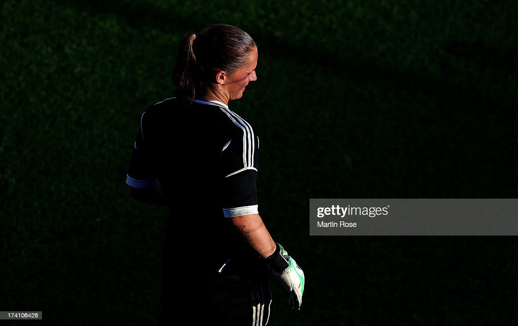 <a gi-track='captionPersonalityLinkClicked' href=/galleries/search?phrase=Almuth+Schult&family=editorial&specificpeople=2133917 ng-click='$event.stopPropagation()'>Almuth Schult</a>, goalkeeper of Germany looks on during the training session of Germany at Vaxjo Arena on July 20, 2013 in Vaxjo, Sweden.