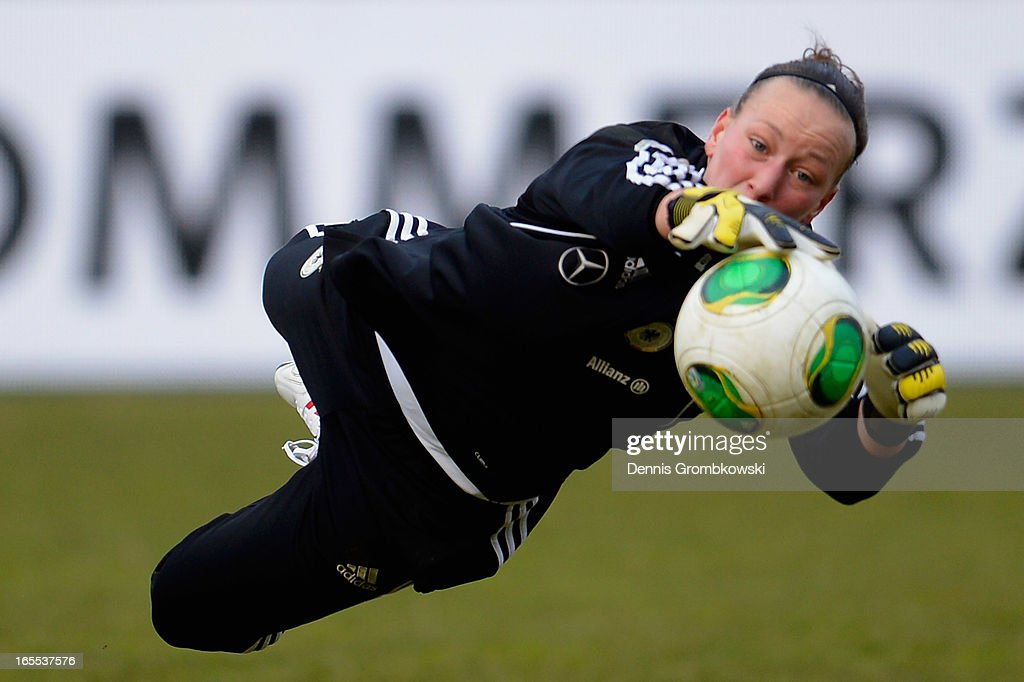 Almuth Schult of Germany practices during a training session ahead of their match against the United States of America on April 4, 2013 in Frankfurt am Main, Germany.