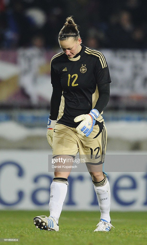 Almuth Schult of Germany reacts during the international friendly match between France and Germany at Stade de la Meinau on February 13, 2013 in Strasbourg, France.