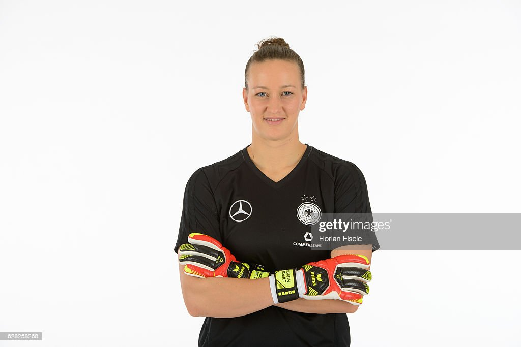 Almuth Schult poses in the new home jersey of the German women's national soccer team on November 25, 2016 in Chemnitz, Germany.