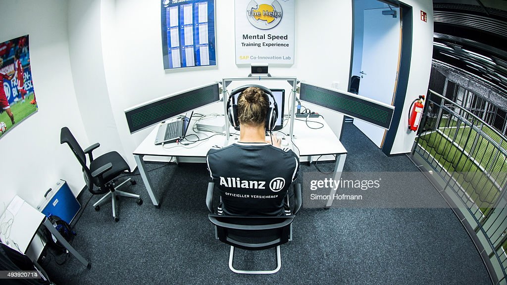 Almuth Schult takes part in a simulation at 'The Helix' during a Germany Women's Footbonaut Training Session at on October 23, 2015 in Zuzenhausen, Germany.
