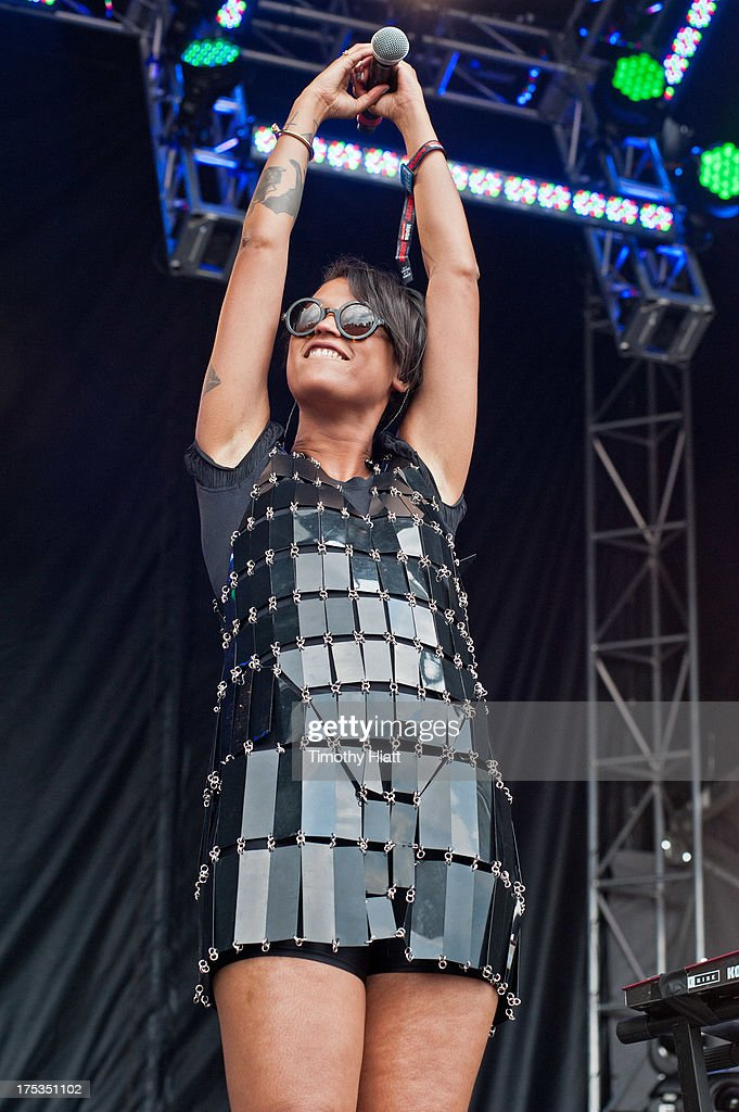 Alno Jawo of Icona Pop performs during Lollapalooza 2013 at Grant Park on August 2, 2013 in Chicago, Illinois.