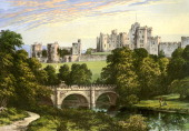 Alnwick Castle Northumberland home of the Duke of Northumberland c1880 Alnwick Castle was built in the late 11th century to defend the northern...