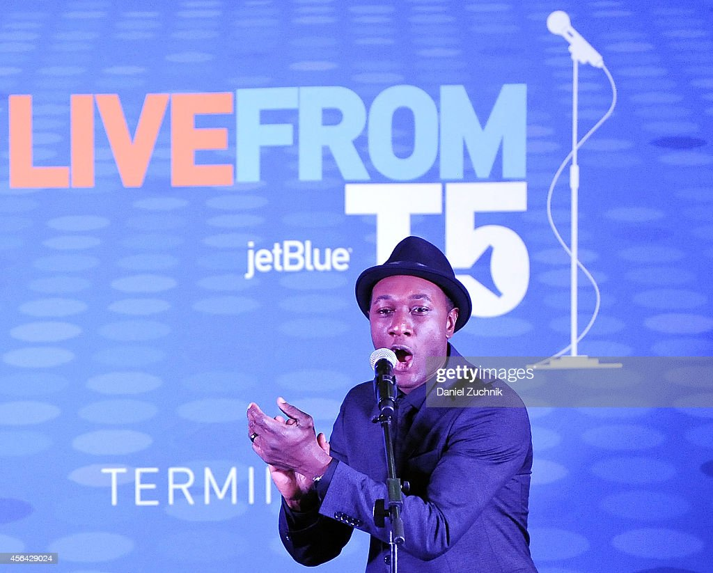 Aloe Blacc performs during JetBlue's Live from T5 Concert Series Aloe Blacc at JetBlue's Terminal 5 at JFK International Airport on September 30 2014...