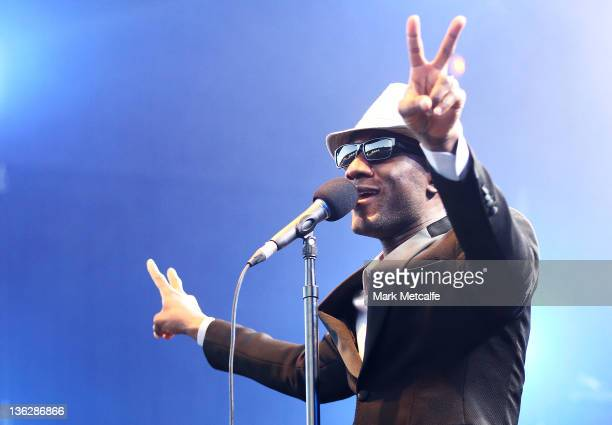 Aloe Blacc performs on stage on day three of the Falls Music Festival on December 31 2011 in Lorne Australia