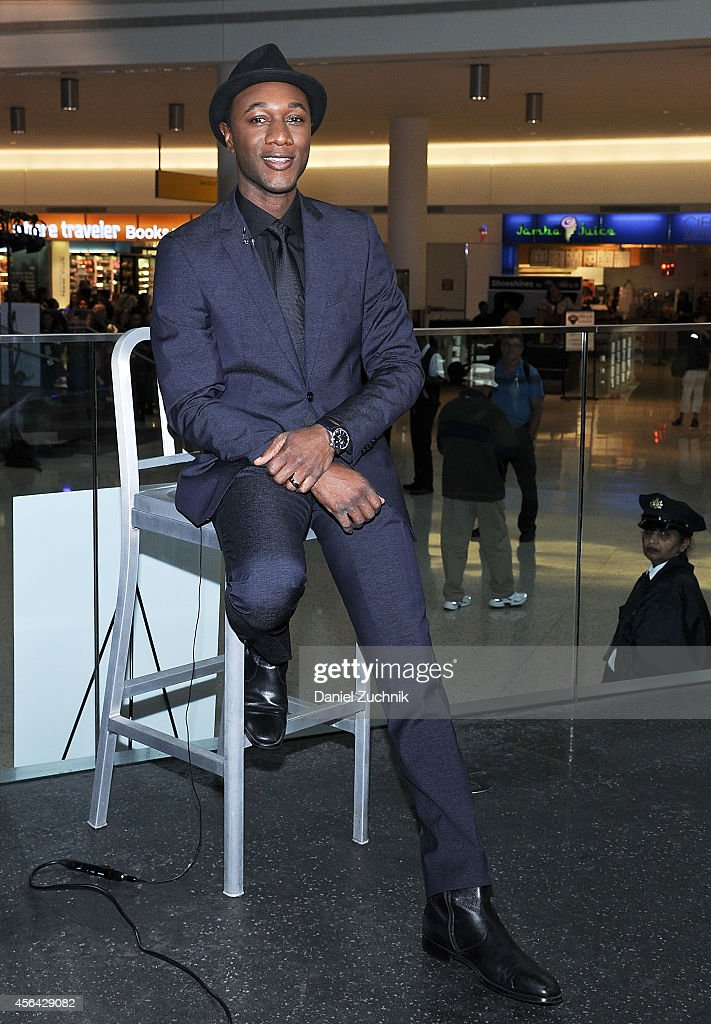 Aloe Blacc poses during JetBlue's Live from T5 Concert Series Aloe Blacc at JetBlue's Terminal 5 at JFK International Airport on September 30 2014 in...