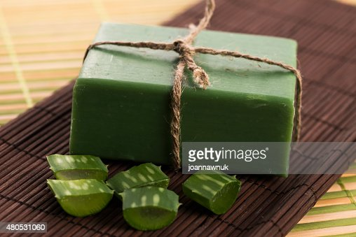 aloe vera soap : Stock Photo