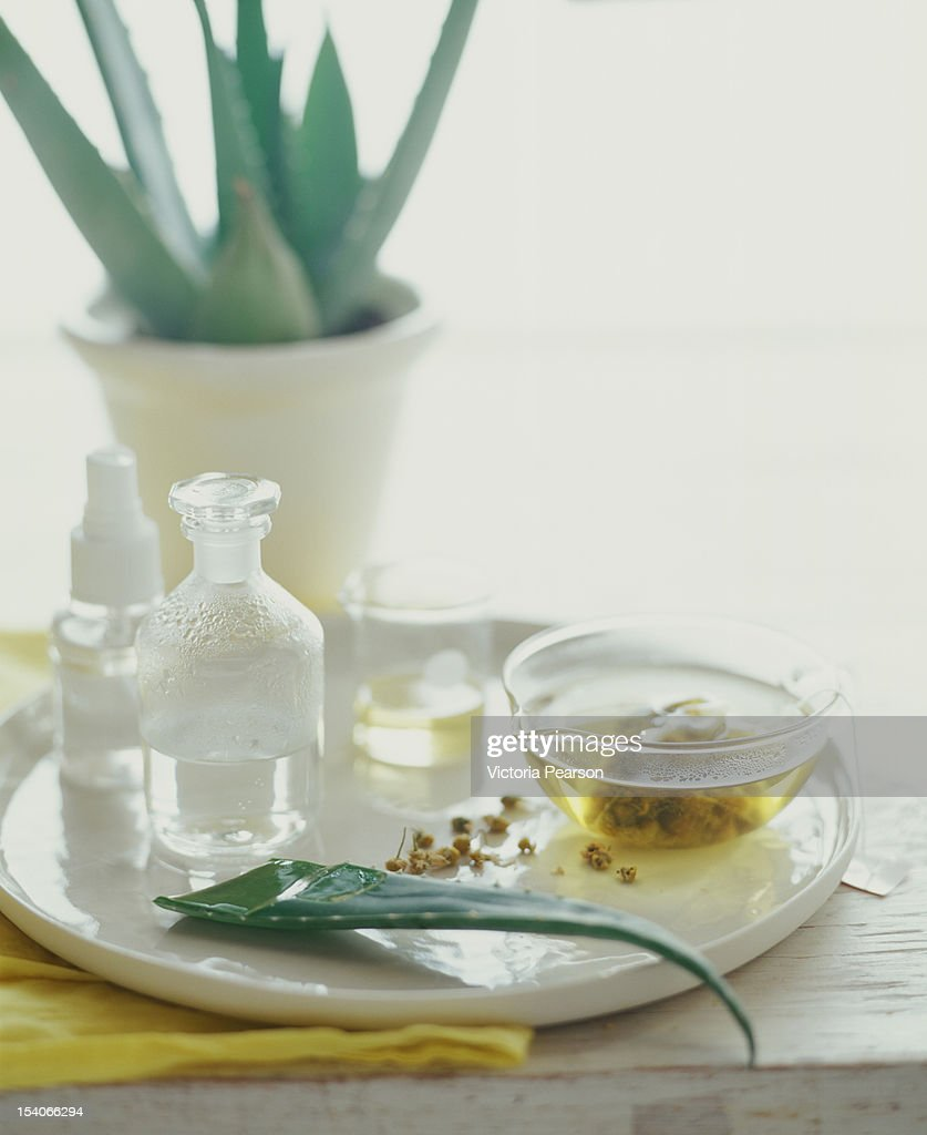 Aloe, tea and oils on a platter.